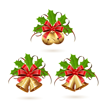 gold bow: Set of golden Christmas bells with red bow, tinsel and holly berries on white background, illustration.