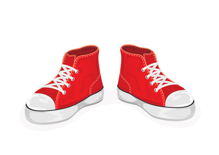 old shoes: Red sneakers isolated on white background, illustration.