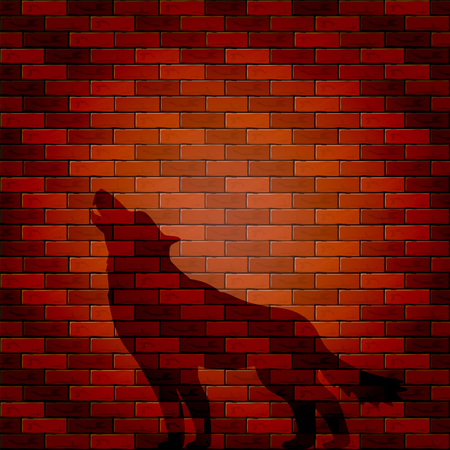 bakstenen muur: Halloween background with shadow of wolf on a brick wall, illustration.