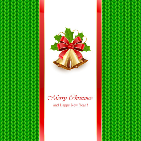 estrella: Christmas bells with red bow and holly berries on green knitted pattern, illustration.