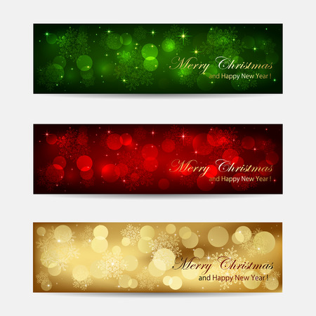 blurry lights: Set of Christmas cards with blurry lights, illustration.