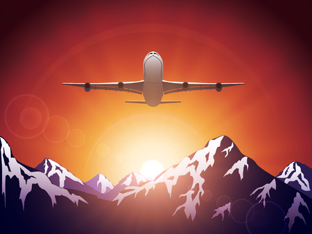 air plane: Plane flying over the mountains on Sun background, illustration. Illustration