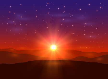 Sunrise in the mountains, beautiful landscape with sun and stars, illustration. Иллюстрация
