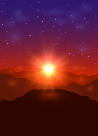 Beautiful landscape with sun and stars, sunrise in the mountains, illustration. Ilustração