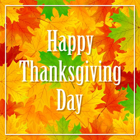 thanksgiving family: Thanksgiving day background with multicolored maple leaves, illustration.