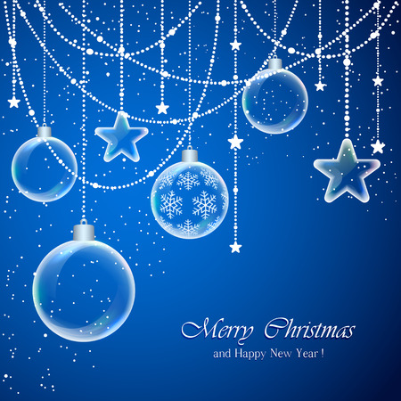 Blue background with Christmas balls and transparent stars, illustration.