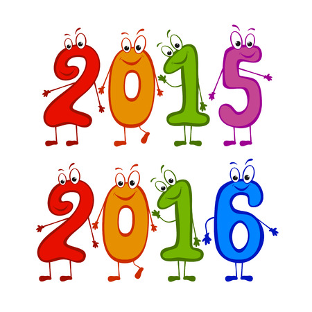 newyear: Set of 2015 and 2016 New Years characters, illustration. Illustration