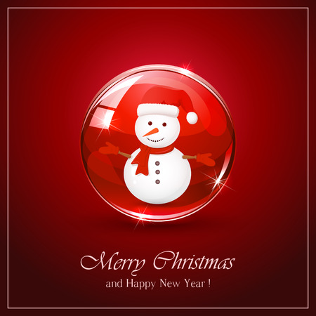 red sphere: Christmas background with cute snowman in red sphere, illustration. Illustration