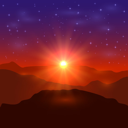 beautiful landscape: Beautiful landscape with shining sun and stars, sunrise in the mountains, illustration.