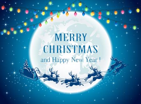 Christmas lights and Santa on sky background, illustration.