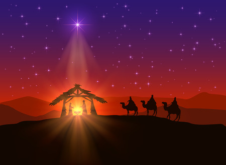 scenes: Christian background with Christmas star and birth of Jesus, illustration. Illustration