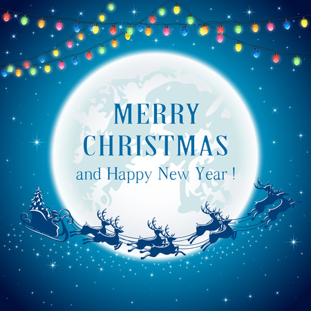 christmas lights background: Christmas lights and Santa on Moon background, illustration.