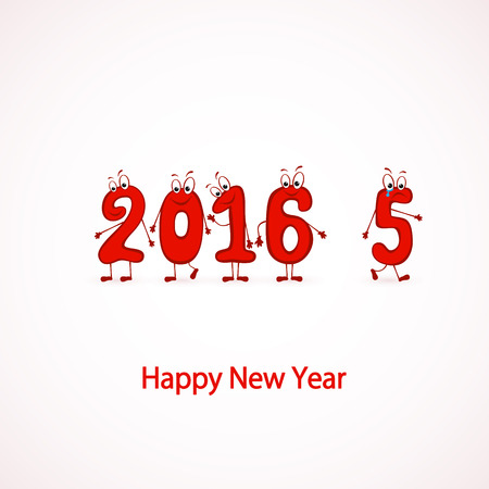 newyear: Red characters numbers, Happy New Year 2016, illustration.