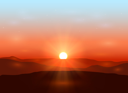 sunset clouds: Beautiful dawn with shining sun in the mountains, illustration.