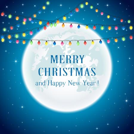 luces navidad: Multicolores luces de Navidad en la luna de fondo, ilustraci�n. Vectores