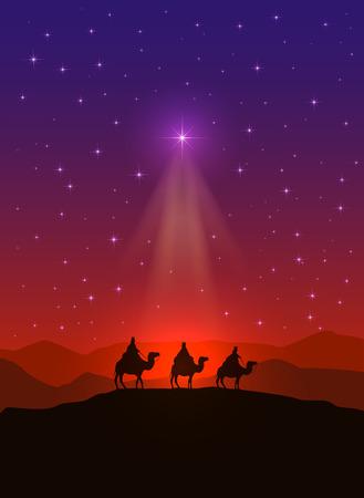 sterne: Christian Hintergrund mit Weihnachts-Stern und drei weise Männer, Illustration.