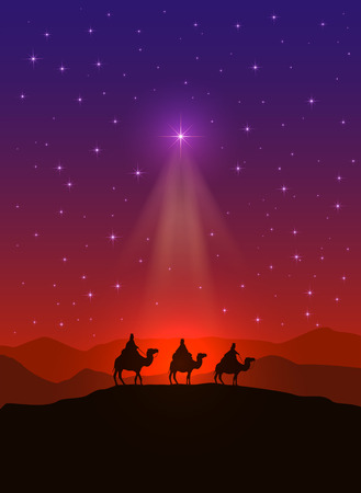 nascita di gesu: Sfondo cristiano con Stella di Natale e tre saggi, illustrazione.