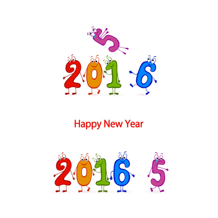 newyear: Multicolored characters numbers, Happy New Year 2016, illustration.