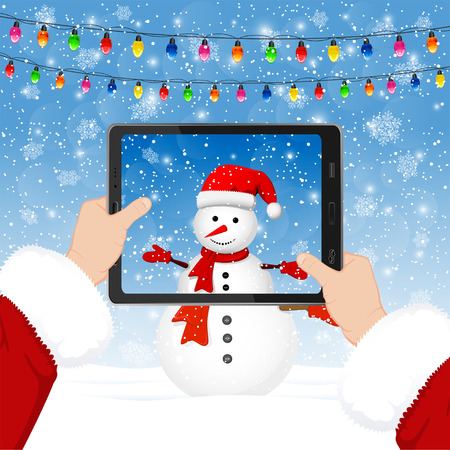 christmas lights display: Santa takes photos of the snowman in the phone, illustration. Illustration