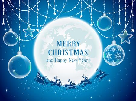 Christmas balls and Santa on Moon background, illustration.