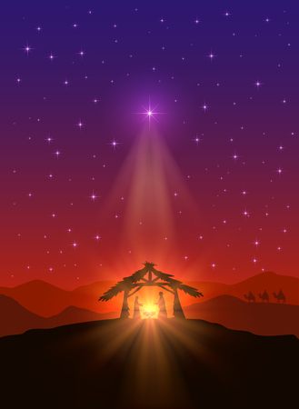 Christian background with Christmas star, birth of Jesus and three wise men, illustration. Vettoriali