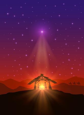 nascita di gesu: Sfondo cristiano con la stella di Natale, la nascita di Gesù e tre saggi, illustrazione.