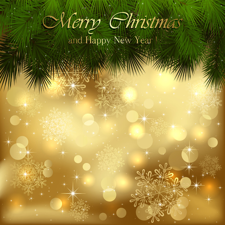 gold christmas background: Golden Christmas background with spruce branches, illustration. Illustration