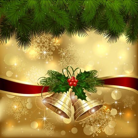 Fondo de oro de la Navidad con campanas y ramas de árboles de abeto, ilustración.