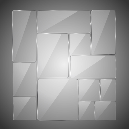 Abstract gray background with glowing glass panels, illustration.