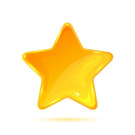 estrella: Estrella amarilla aislada en el fondo blanco, ilustración.