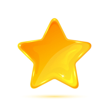 Yellow star isolated on white background, illustration. Ilustração