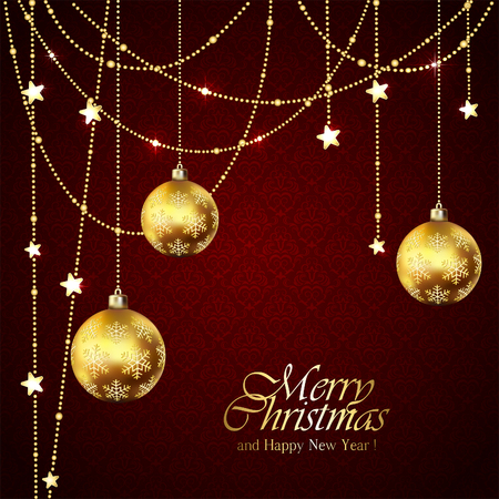 beads: Red background with Christmas balls and golden stars, illustration.
