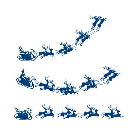 renna: Natale, slitta con renne e Santa isolato su sfondo bianco, illustrazione.