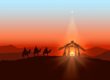 nascita di gesu: Natale con sfondo tema cristiano, stella splendente e nascita di Ges�, illustrazione.