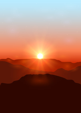 desert sunset: Beautiful landscape with dawn in the mountains, illustration.
