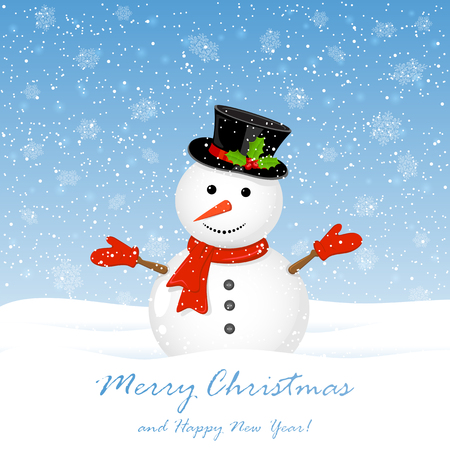 cappelli: Christmas background, cute snowman with hat and falling snowflakes, illustration. Vettoriali