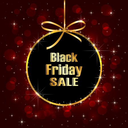 golden ball: Black Friday Sale background with blurry lights, illustration.