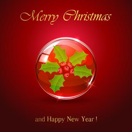 red sphere: Christmas sphere with holly berry on red background, illustration. Illustration