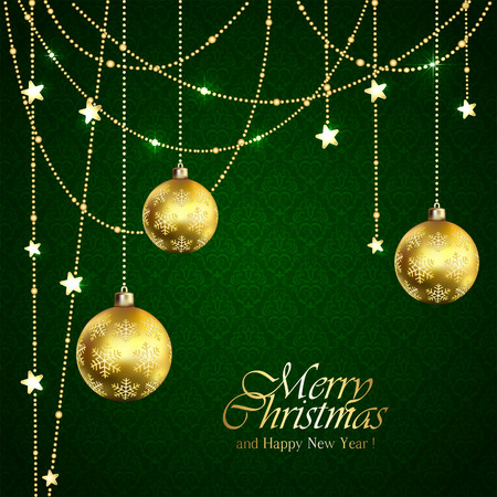 golden ball: Green background with Christmas balls and golden stars, illustration.
