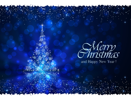 Abstract winter blue background with Christmas tree from snowflakes, illustration.