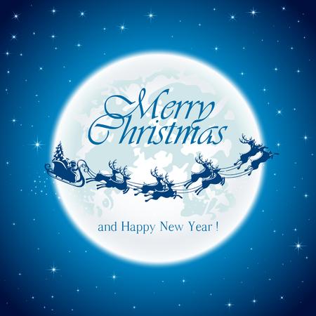 trineo: La noche de Navidad con Santa en la luna de fondo, ilustración. Vectores