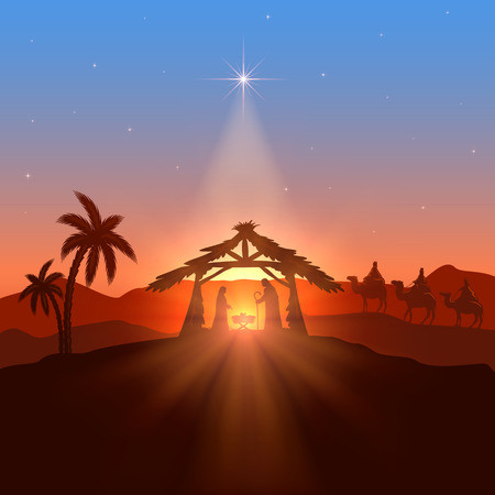 scenes: Christian theme with Christmas star, birth of Jesus, illustration.