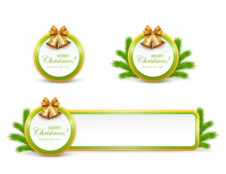 golden ribbon: Set of Christmas cards and banner with golden bells, bow and fir tree branches on white background, illustration.