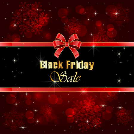 blurry lights: Shiny background Black Friday Sale with blurry lights and red bow, illustration.