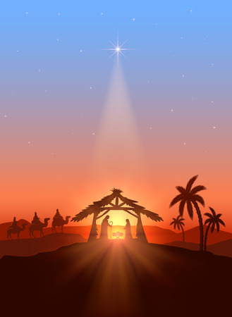 family with three children: Christian Christmas background with shining star, birth of Jesus, illustration.