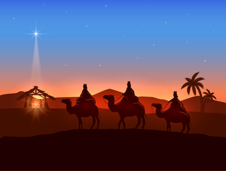 scene: Christian Christmas background with three wise men and shining star, birth of Jesus, illustration.