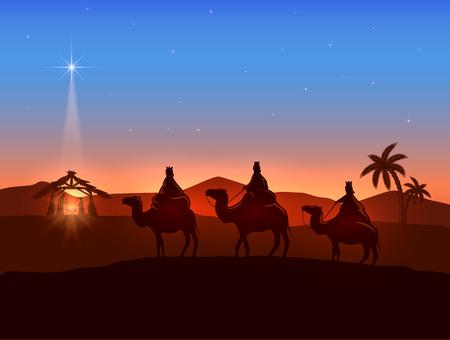 pesebre: Formación cristiana de Navidad con tres hombres sabios y brillante estrella, nacimiento de Jesús, ilustración.