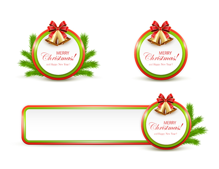 fir tree red: Set of Christmas cards and banner with golden bells, red bow and fir tree branches on white background, illustration.