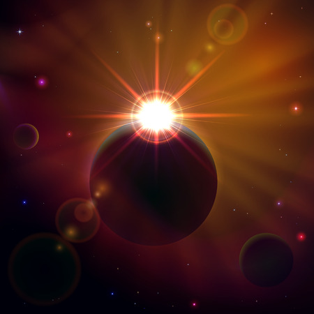 cosmic rays: Space background with planets, stars and shining sun, illustration.