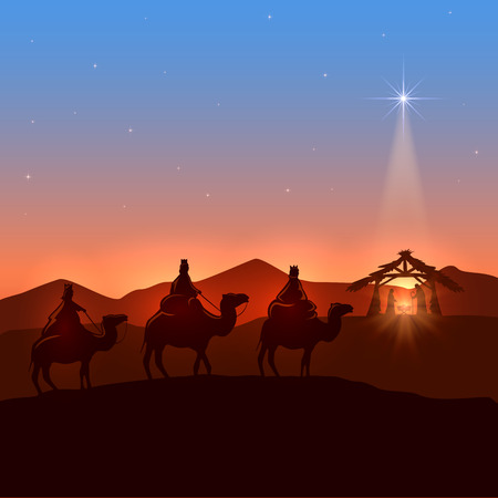 Christmas background with three wise men and shining star, Christian theme, illustration. Vectores